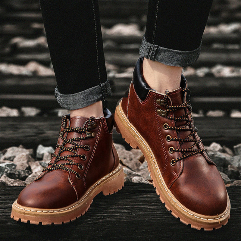 ZOQI Hot British Style Martin Boots Men Sneakers Hight Quality Leather Ankle Work Boots Men Winter Snow Boots Mens Shoes Casual brand men boots fashion hot bullock shoes handmade warm genuine leather winter boots men casual british style ankle snow boots