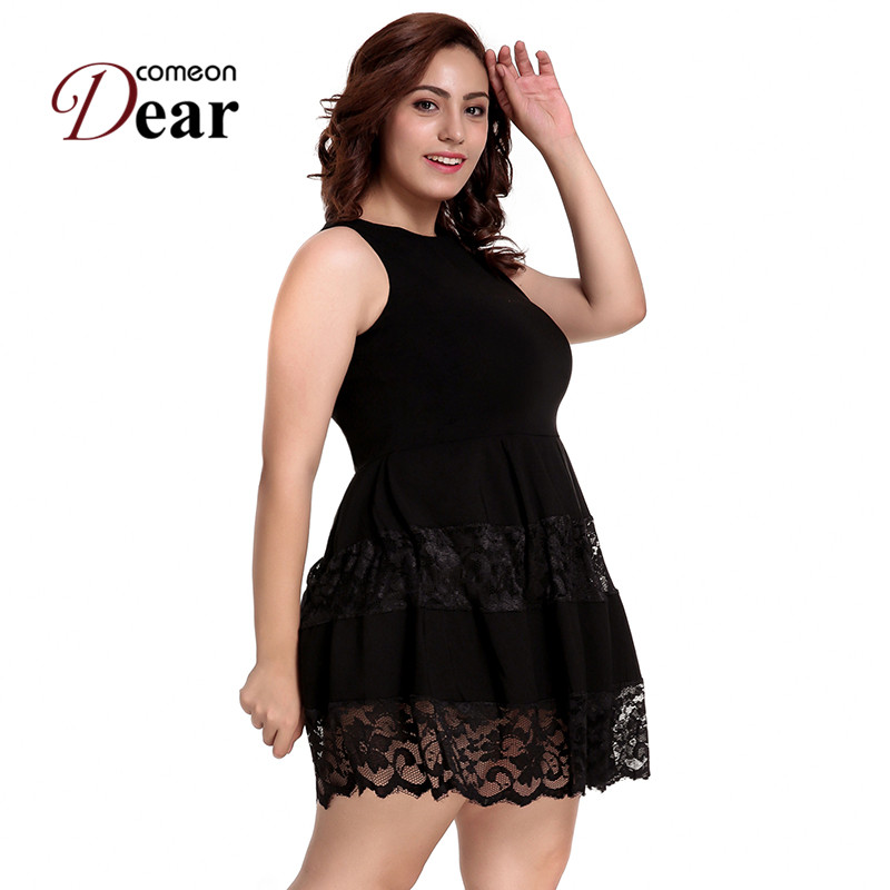 f043d77588e25 Comeondear Sexy Lace Skater Dress Black Elegant A Line Party Dress O Neck  Sleeveless Evening Pleated Dress Plus Size 3XL RP80049-in Dresses from  Women s ...