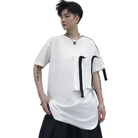Men Summer Short Sleeve T Shirt Male Streetwear Punk Gothic Hip Hop Tshirt Ribbons Spliced DJ Stage Show Tees Shirts
