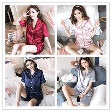 Short Sleeve Silk Pajamas Suit Women Summer Pajama Sets Satin Pijama Sleepwear Pyjamas Nightwear