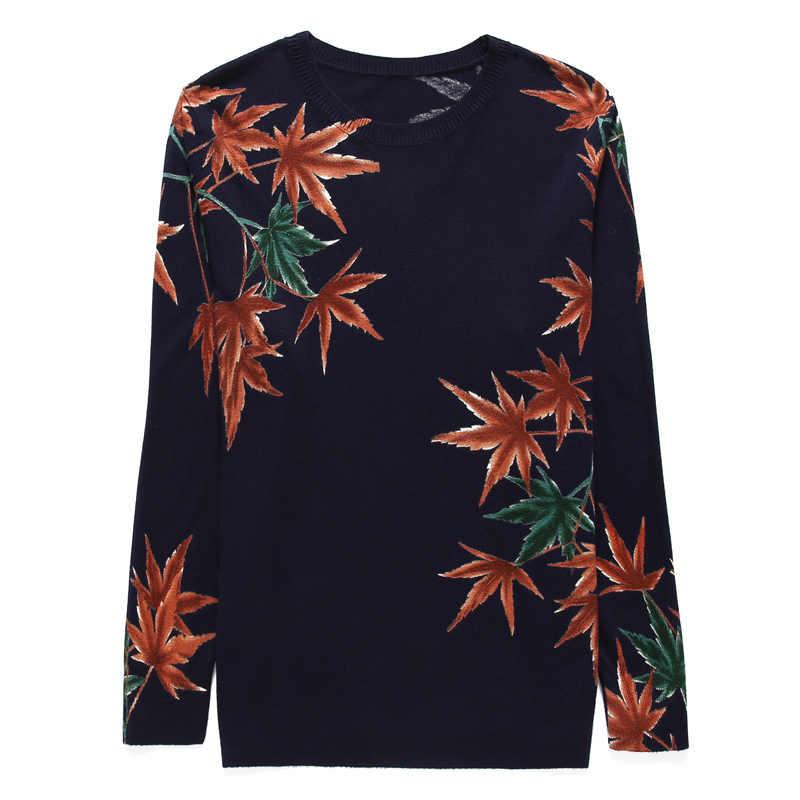 YISU кленовый свитер с принтом, Женский Повседневный пуловер с длинным рукавом, весна 2019, элегантная уличная одежда, джемпер с круглым вырезом, Свободный вязаный свитер