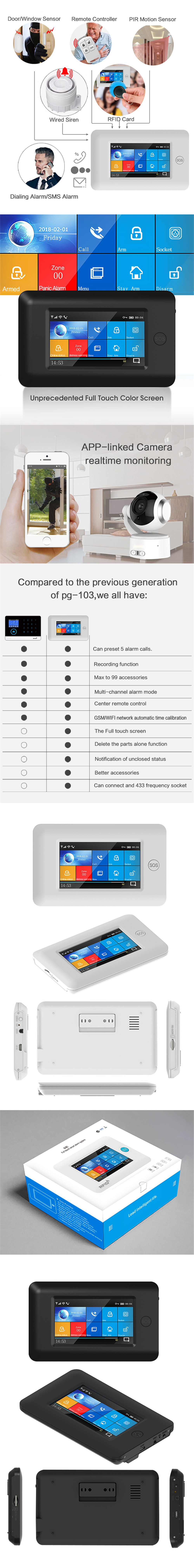 Wifi APP Control Smart Home Security with Touch Color Screen and PIR Motion Sensor 14
