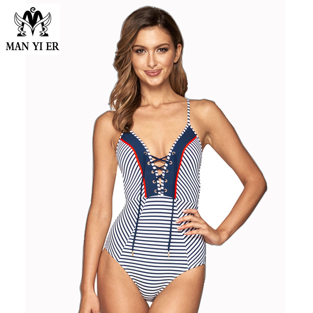 hot sell one pieces women bikini set blue striiped bandaged cup swimsuit sexy conjoined women biquini popular bathingsuit