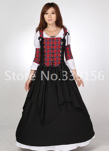 2017 Novelty Fashion Gothic Victorian Rococo Lolita Dresses Red Plaid Victorian Ball Gown Party Dresses