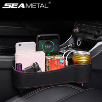 pu leather Universal Car Seat Gap Organizer Storage Box PU Leather Auto Seat Crevice Side Slit Accessories With 12V Cigarette Lighter Drive (1)