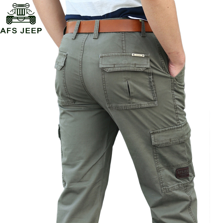 AFS JEEP Brand Men's Casual Long Pants Autumn Winter Military Cargo Pants Loose Straight Multi Pocket Overalls Casual Trousers