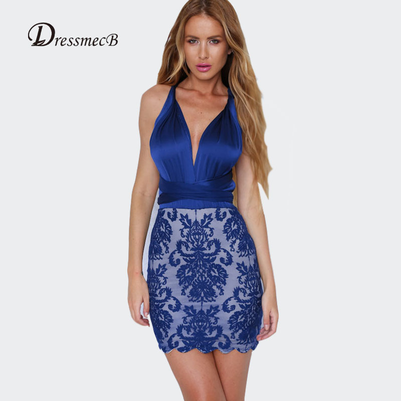 21107a46e2328 DRESSMECB Summer Women Floral Lace Patchwork Satin Dress Deep V Neck ...