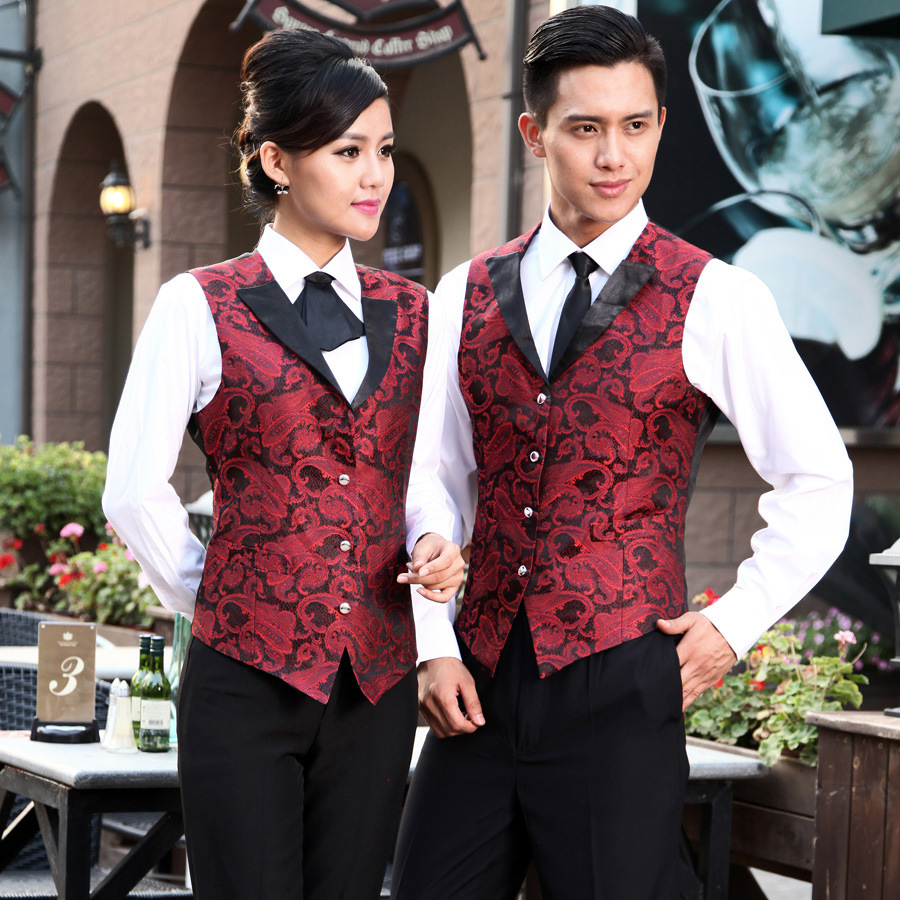 Hotel Uniform Men Wiater Uniform Western Restaurant Vest Women Night Club Waitress Uniform Bar Men KTV Waiter Work Wear 89