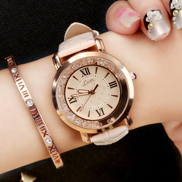 Hot Luxury Brand Diamond Fashion Rhinestone Watch Leather Casual Dress Women's Q