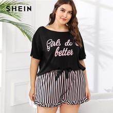 SHEIN Plus Größe Frauen Brief Drucken T Und Gestreiften Shorts Pyjama Sets Kurzarm T shirt Mit Rüschen Saum Shorts Nachtwäsche set