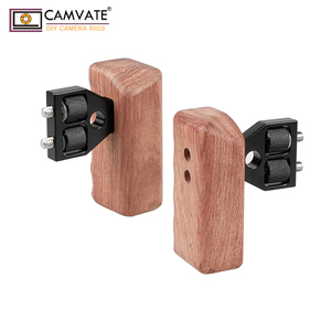 Image 3 - CAMVATE DSLR כפולה מעץ ידית אחיזה עם מחבר עבור DV וידאו מצלמה כלוב עוזר צלם מייצב אביזרי C1346