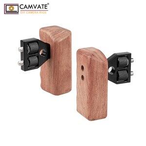 Image 3 - Camvate Dslr Houten Dual Handle Grip Met Connector Voor Dv Video Camera Kooi Steadycam Stabilizer Accessoires C1346