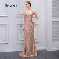 BeryLove Shinning Mermaid Champagne Sequin Evening Dresses 2018 Long V Neck Evening Dress Women Formal Evening Gowns Party Dress