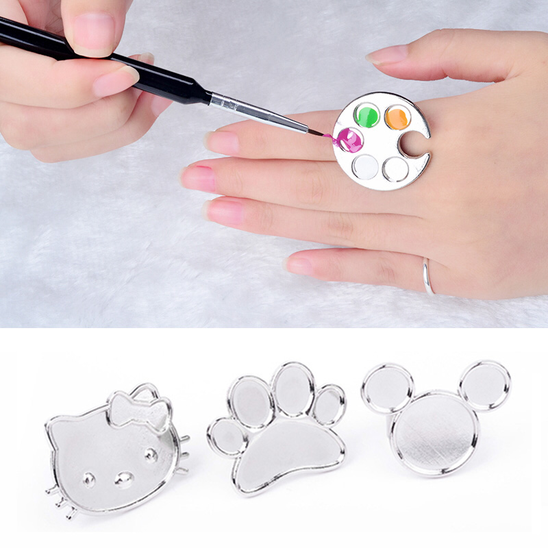 1pc Mini Nail Art Metal Finger Ring Palette Mixing Acrylic UV Gel Polish Painting Drawing Color Paint Dish Manicure Tools