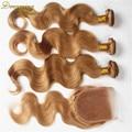 #27 Malaio Onda Do Corpo Do Cabelo Virgem 3 Pacotes Com Feixes de Fechamento rendas Loiro Mel Tecer Molhado E Ondulado Com fechamento