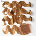 #27 Malaysian Virgin Hair Body Wave 3 Bundles Con Honey Blonde Lace Closure Bundles Mojado Y Ondulado de la Armadura Con cierre