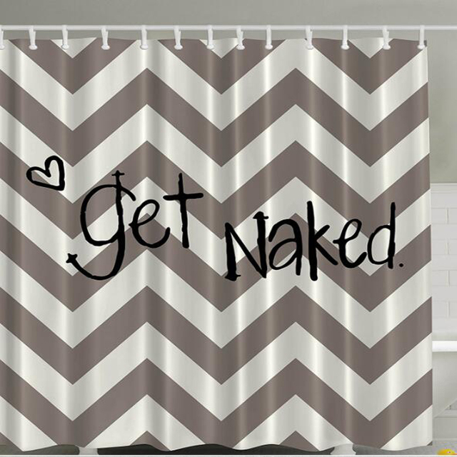 Funny Quotes Chevron Shower Curtain Apartment Art Decor Get Naked Sexy Symbol Of Love Geometric