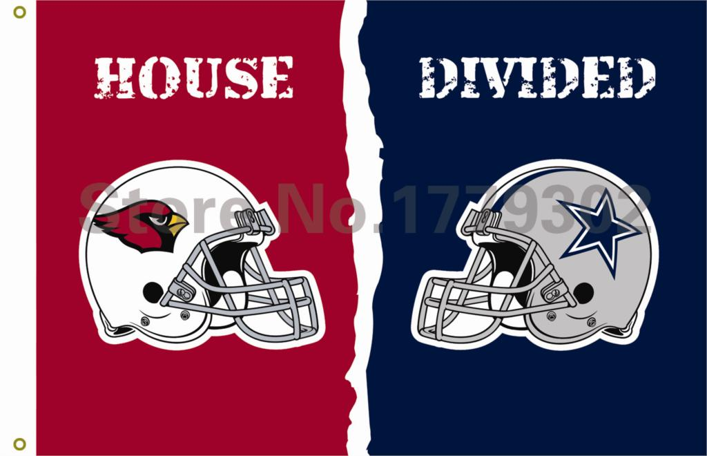 Arizona Cardinals Dallas Cowboys helmets House Divided Flag3ft x 5ft ...