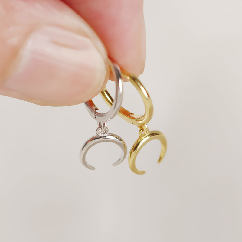 1pair 12mm*18mm 100% Authentic 925 Sterling silver Golds White Crescent Moon hoop Huggie earrings FINE jEWELRY TLE610