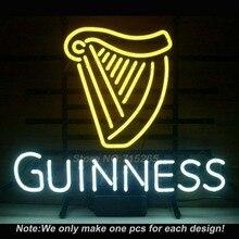 Новый Guinness Ирландского Пива Знак Неонового Света Настоящее Стеклянная Трубка ручной Пользовательский ЛОГОТИП Неоновые Лампы Комната Отдыха Стене Знак В. Д. 17×14