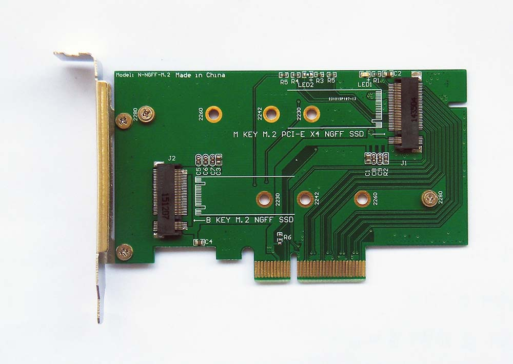 2 slot adapter Card to PCIE x4 for XP941 SM951 M6E MZHPV128HDGM MZHPV256HDGL SSD