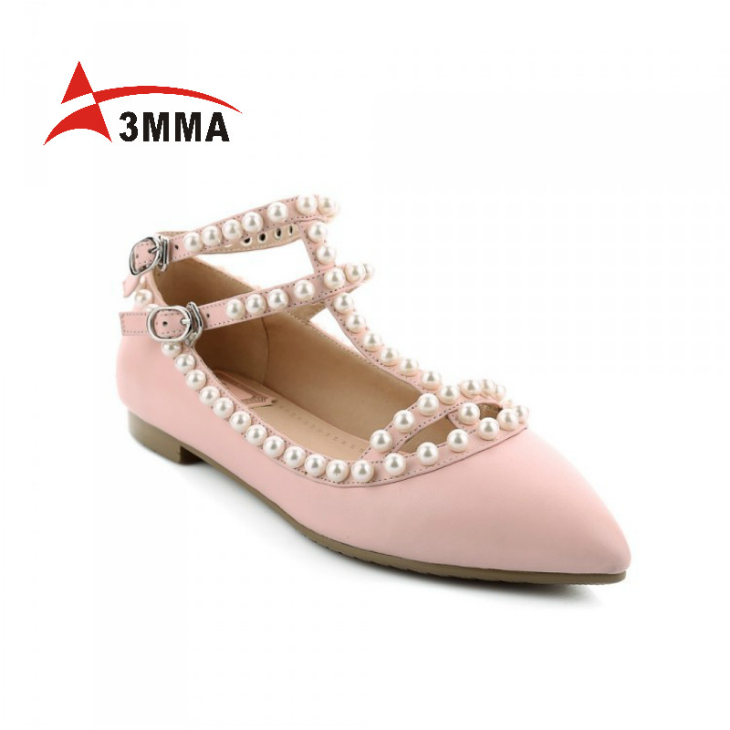 3mma Brand Zapatos Mujer Soft Genuine Leather Shoes Women Casual T Buckle Strap font b Flats