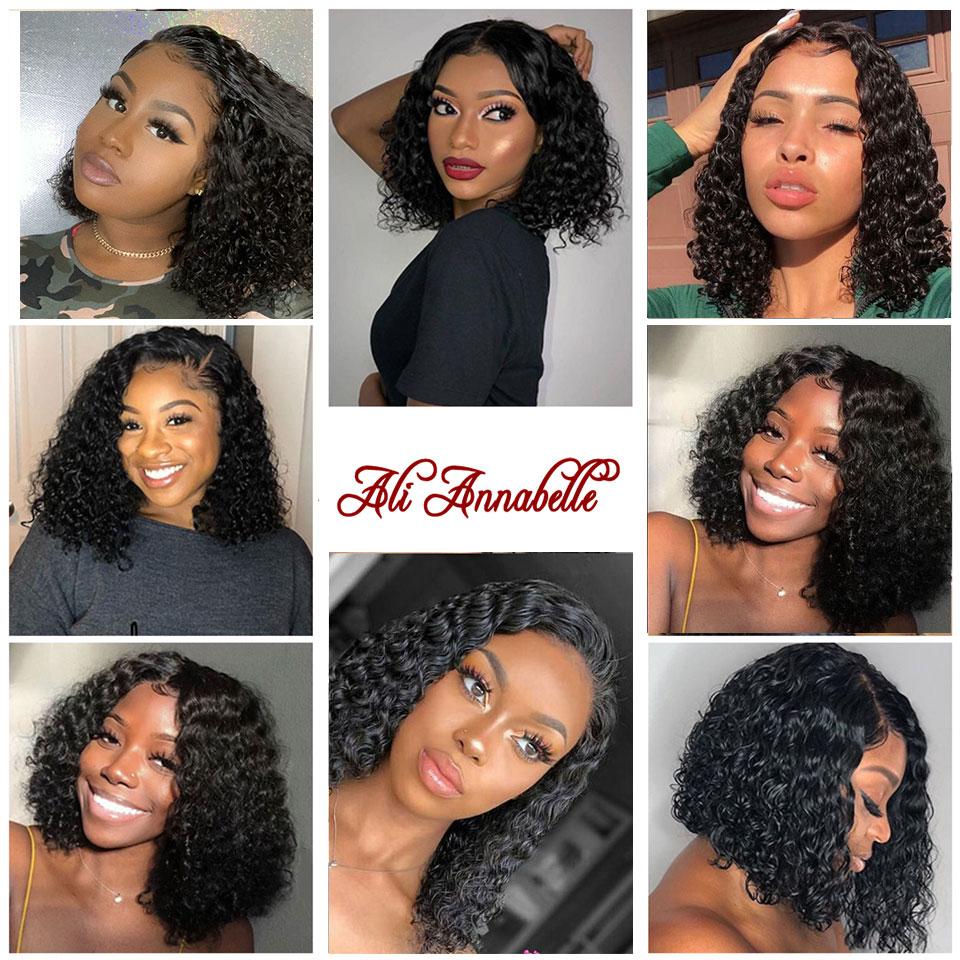 Парики из натуральных волос на кружевной основе, перуанские волосы с глубокой волной, короткие волосы, парик с предварительно выщипанными волосами, 150% плотность волос, парики - 4