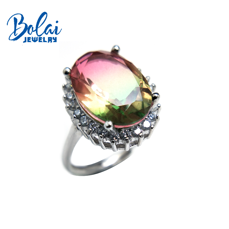 Bolaijewelry Natural Doublet multicolor crystal ladys Rings 925 sterling silver fine jewelry for madam with Best