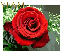 Red Rose Flower Painting By Numbers DIY Hand Paint Acrylic Drawing On Linen Canvas Modern Home Decorative Wall Picture