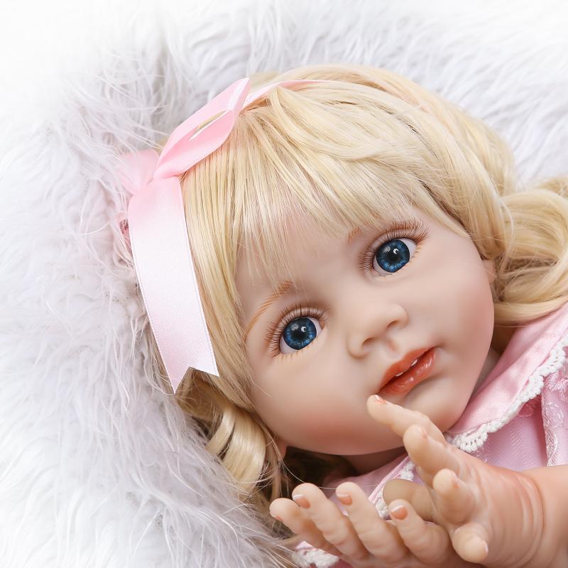 Bebe Reborn блондинка и голубоглазая девушка куклы 60 см ручной работы реалистичные Мягкий силиконовый для маленьких детей на день рождения крас