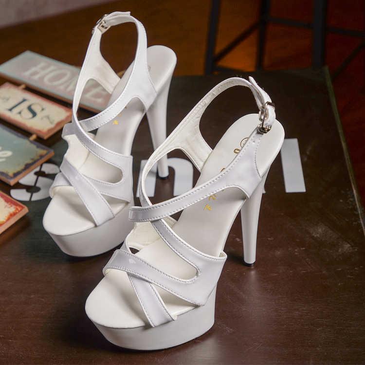 Sandali delle donne Scarpe New Gladiatore Tacco Alto 15 CENTIMETRI Scarpe Sexy delle Donne Della Signora Sandali Della Piattaforma di Estate A Spillo Pole Dancing sandali