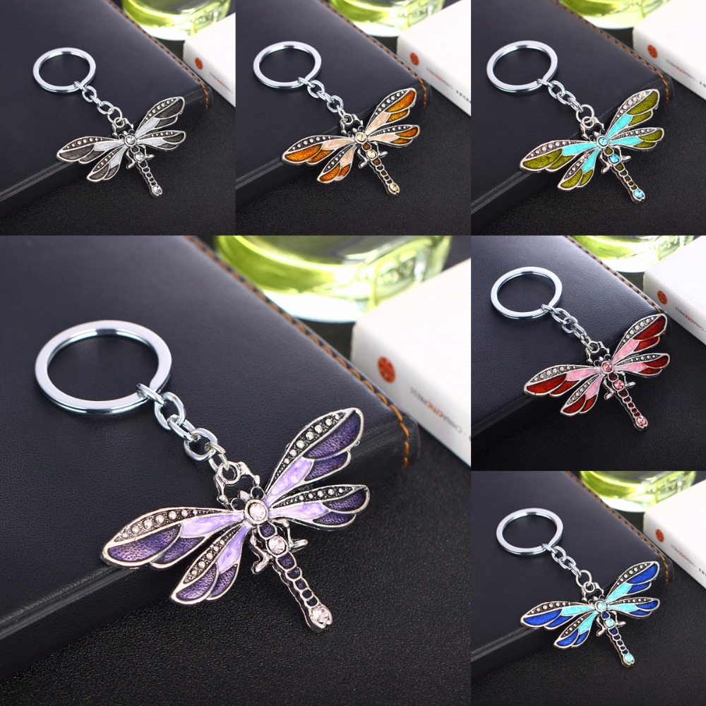 Crystal Butterfly Keychain Bohemia Dragonfly Pendants Keyring Women Ladies Jewelry Gifts Animal Charms Key Chain Car Bags Keyfob