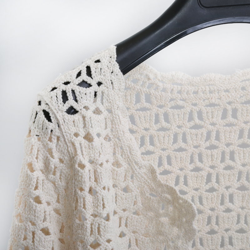 Crochet White Lace Hollow Out Knitted Cardigan Blouse 5