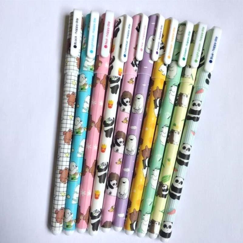 10 Pcs/lot Bear Panda Gel Pens Cute Unicorn 10 Colors Neutral Drawing Pen Stationery School Writing Supplies Escolar