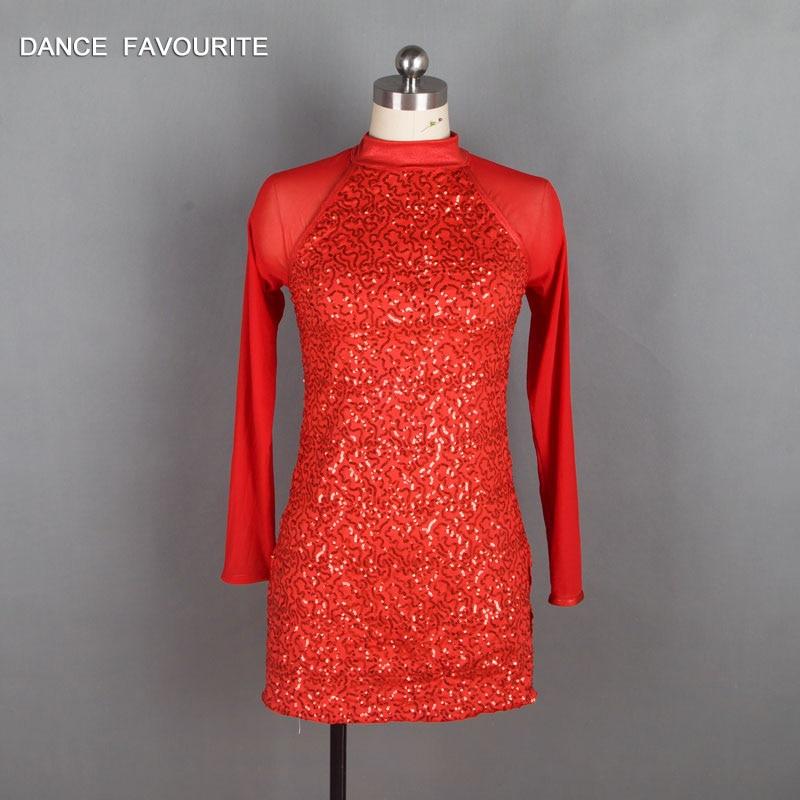 Red Sequin Spandex Bodice Bikeshorts Jazz/Tap Dance Costumes, Ballet Costumes, Lyrical Dancewear