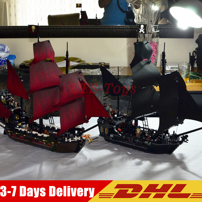LEPIN 16009+16006 Pirates Of The Caribbean Queen Anne's Reveage Black Pearl Dead Ship Model Building Kits Blocks Bricks Toys dhl lepin 16006 pirates of the caribbean the black pearl ship 16009 queen anne s revenge pirate ship building blocks set