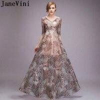 JaneVini 2018 мода кружева мать невесты платья для свадеб Половина рукава See Through Лето Вечеринка платье крестная