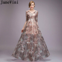 JaneVini 2018 Fashion Lace Mother of the Bride Dresses for Weddings Half Sleeve See Through Summer Evening Party Dress Godmother