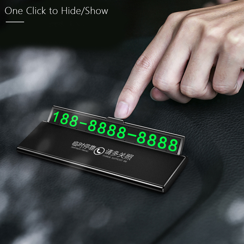 One-click Hid Car Temporary Parking Card Phone Number Ultra-thin Drawer Hideable Luminous Telephone Number Plate Car Accessories
