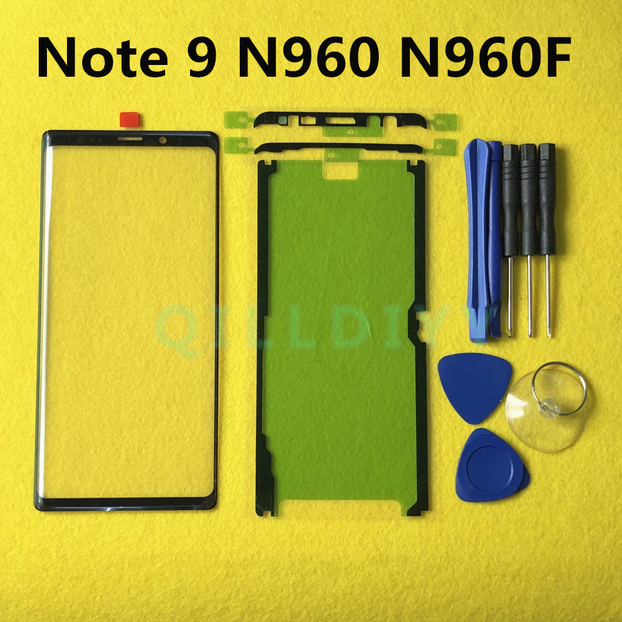 Note9 Screen Touch Panel Outer Glass For Samsung Galaxy Note 9 N960 N960F SM-N960F Front Glass Lens Replacement + Sticker Tools