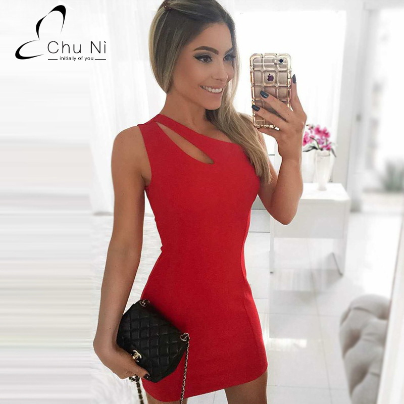 Chu Ni 2017 Sexy Women One Shoulder Dress Hollow Out Sleeveless Dresses Solid Mini Bodycon Summer Dress Night Club Wear C029