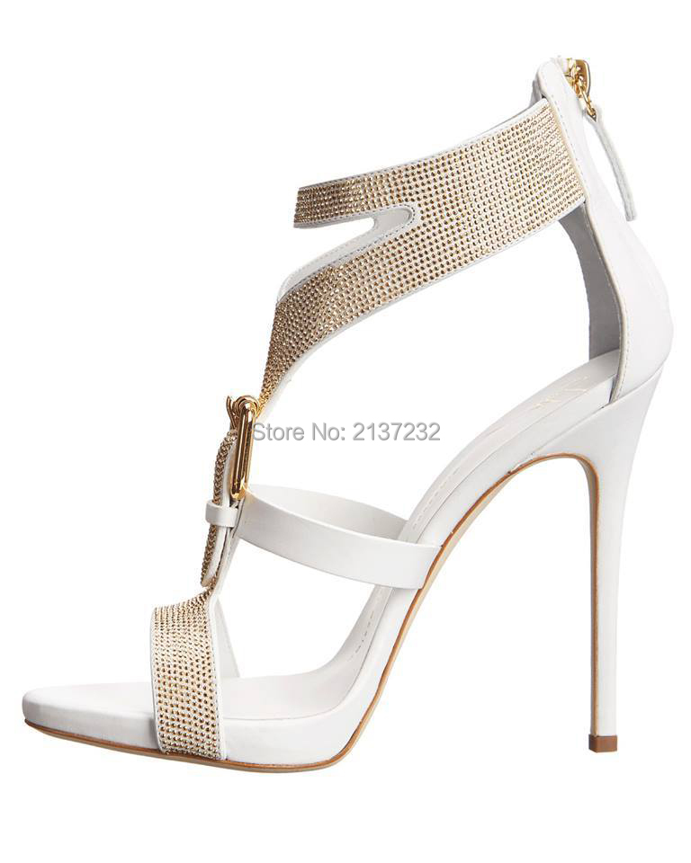 ФОТО  2016 New fashion Peep toe solid T-strap Rhinestone women shoes Zipper Buckle strap sandals For wending Party Dress big size4-15