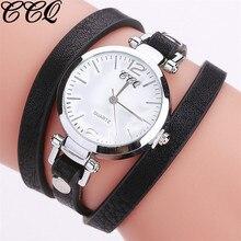 01f0dd5aab2 CCQ Mulheres Marca de Moda Relógios Analógico Relógio de Pulso Pulseira de  Couro de Quartzo Das