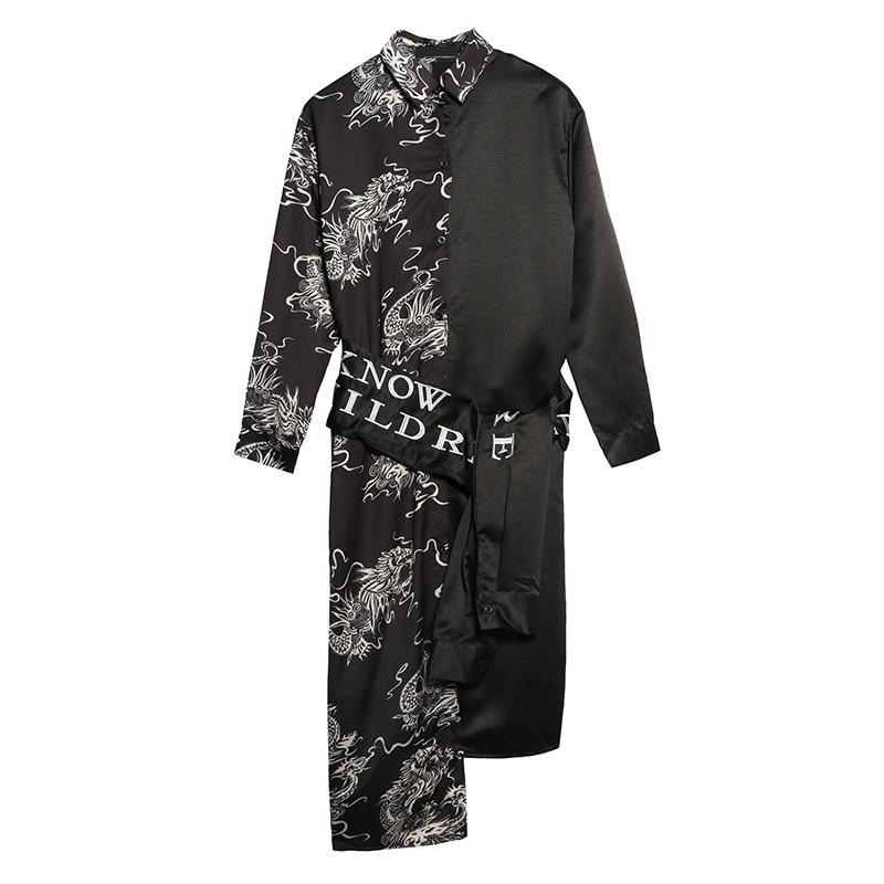 Irregular Black Dragon Print Dress With Embroidery Belt 2017 Women Loose Shirt Vestidos Chinese Style Special Design LT265