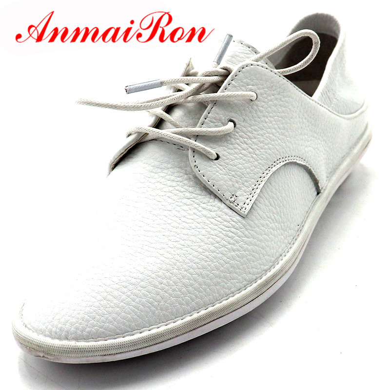 ANMAIRON Spring Summer Shoes Woman Round Toe Casual Flats Lace up Shoes Lades Flats Shoes Slippers Genuine Leather Moccasins in Women 39 s Flats from Shoes