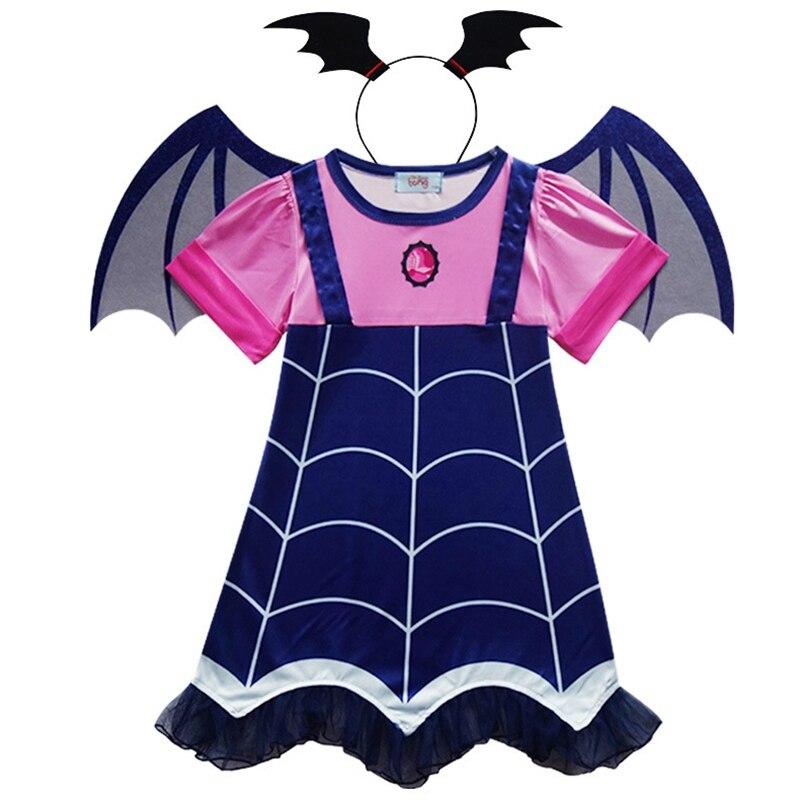 Vampirinas Cosplay Costume Girls Princess Fancy Party Dress With Headband Hair Hoop Vampire Wings Costume Lovely Baby Girls Gift