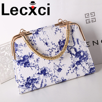 Chinese ethnic style white&blue retro style blue and white porcelain women's handbags printed ink painting plum handle shouler