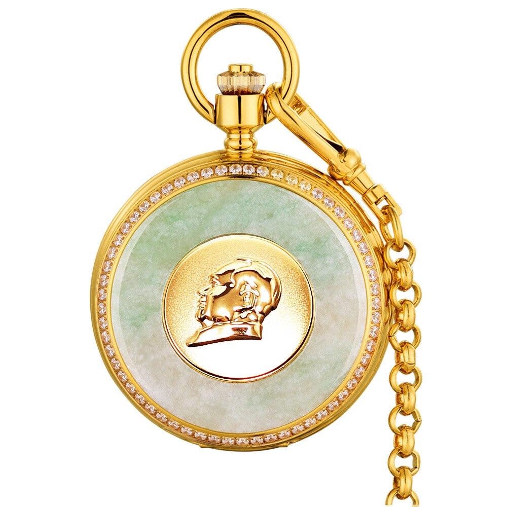 Бренд карманные часы серии Ретро Для мужчин механические карманные часы нефрит Изумрудный поверхность Золотой Для мужчин карманные часы с