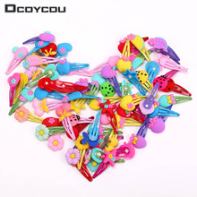 10PCS Children New Silicone Hair Clips Cute Fruit Flowers Safety Barrettes BB Clip Little Girls Gifts Kids Accessories