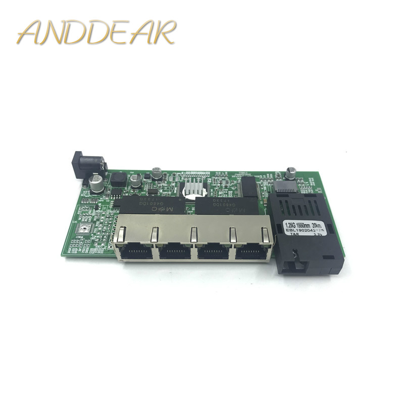 Image 1 - 10/100/1000M Gigabit Ethernet switch Optical Media Converter Single Mode 4 RJ45 UTP and 1 SFP fiber Port Board PCB motherboard-in Network Switches from Computer & Office